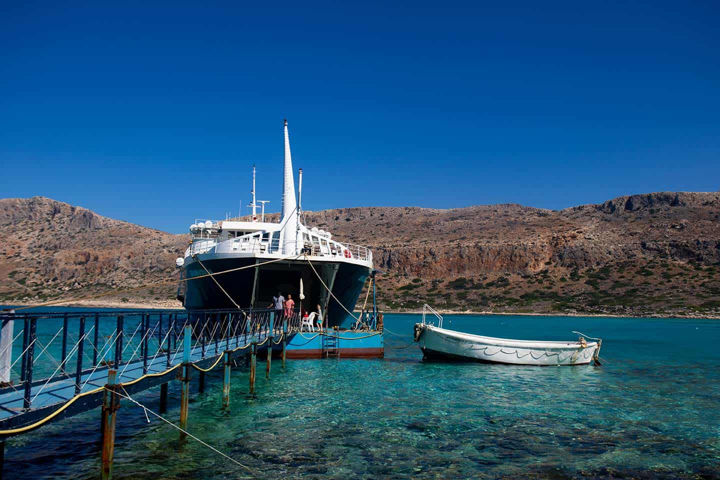 Image of the ferry 'Gramvousa' moored of Balos beach Crete Greece