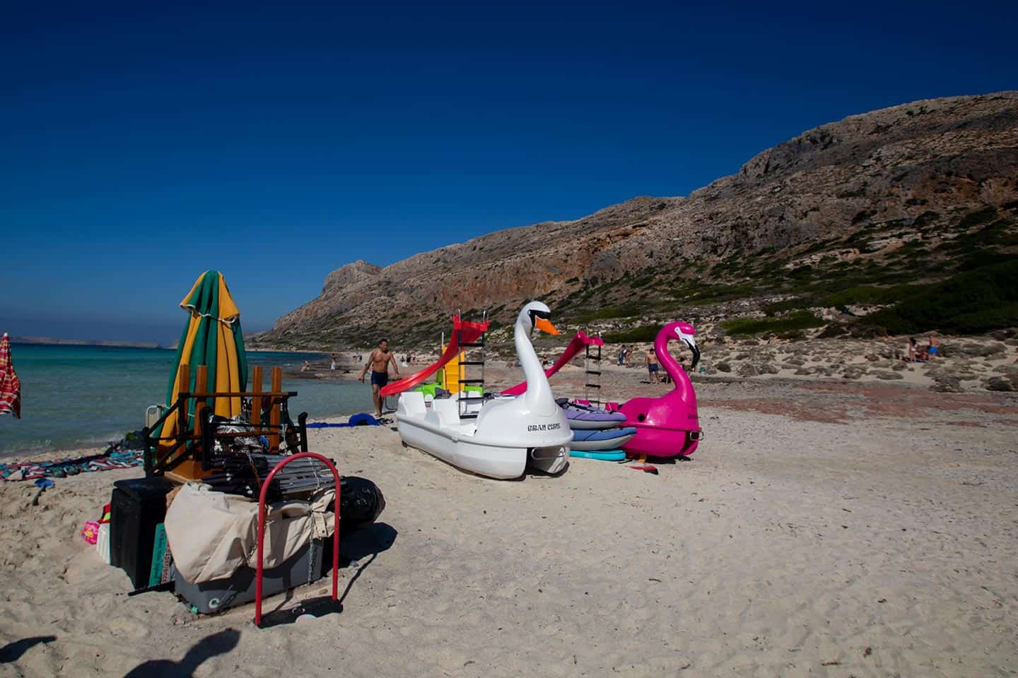 Image of pedalos and beach equipment for hire at Balos Beach on Crete