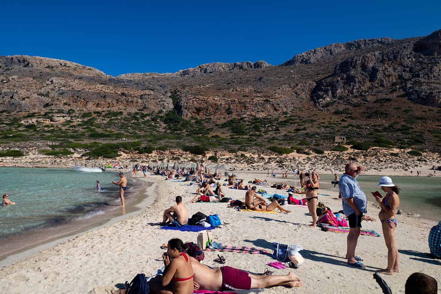 Image of people on Balos beach Crete Greece