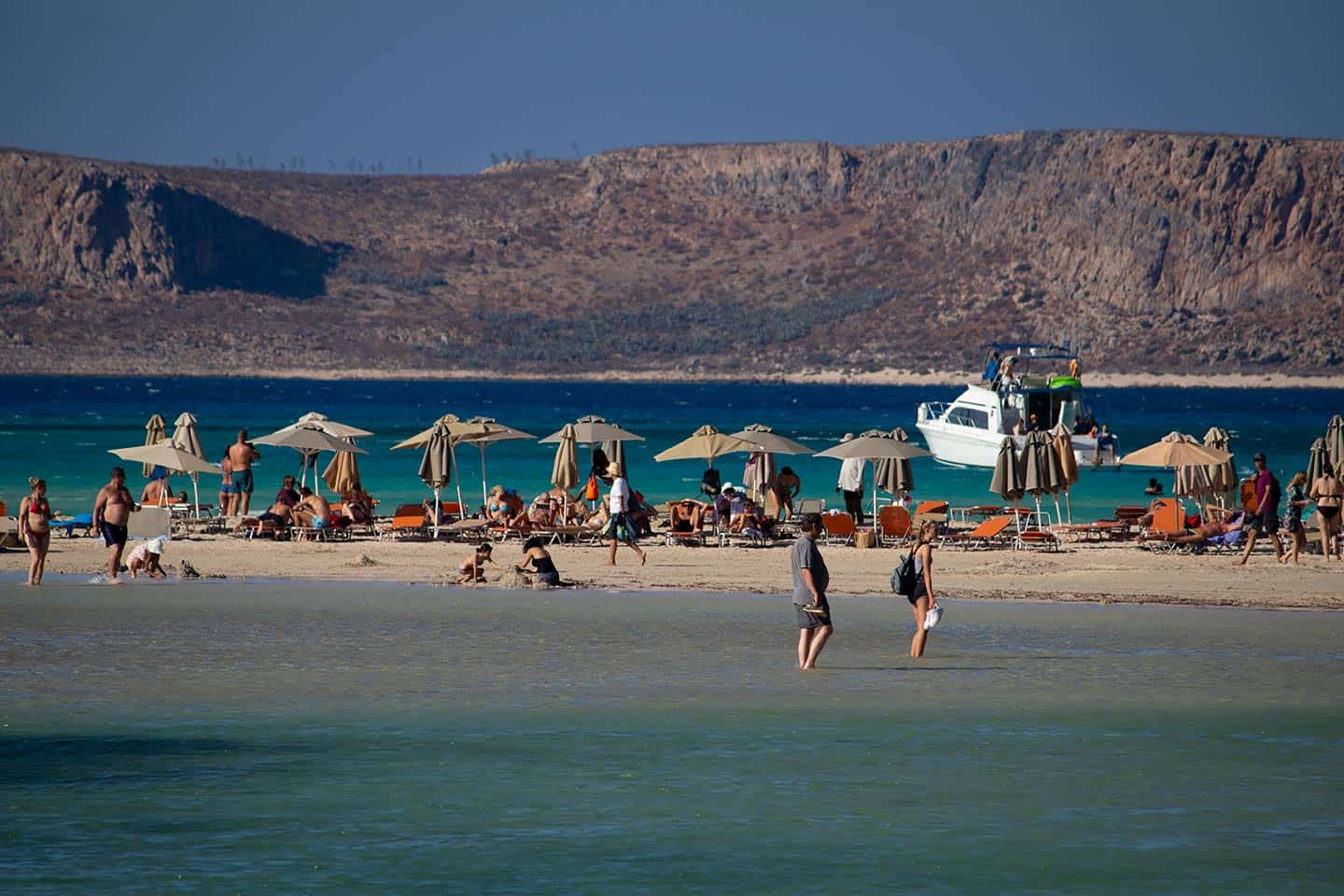 Image of beach umbrellas at Balos Beach Crete Greece