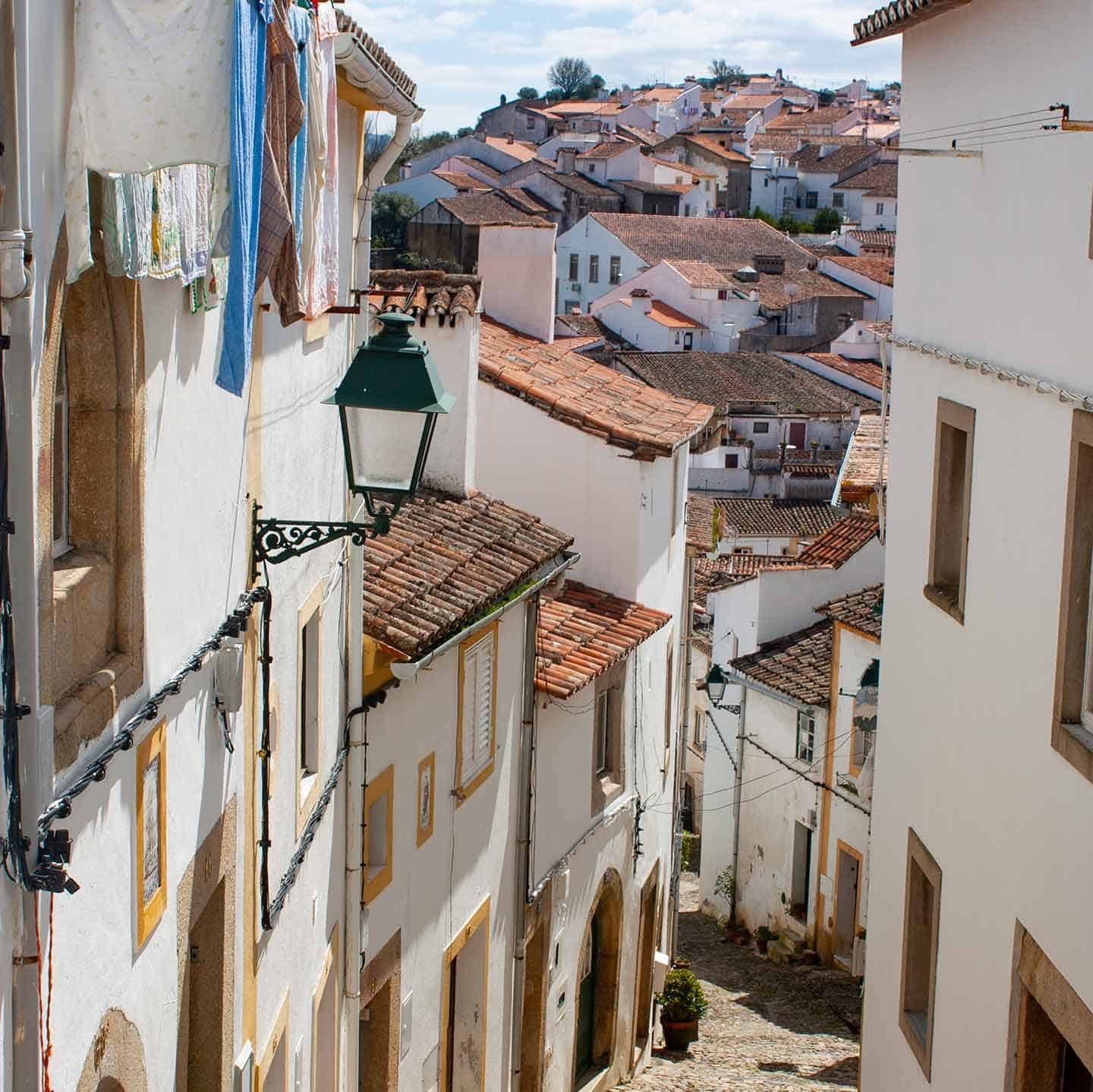 Image of a medieval street in the old town of Castelo de Vide Portugal