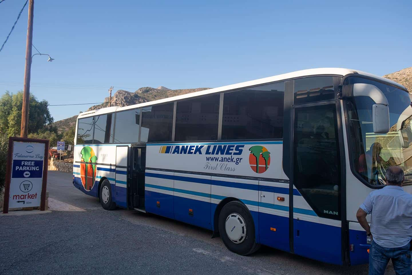 Image of the local bus at Falassarna Crete Greece