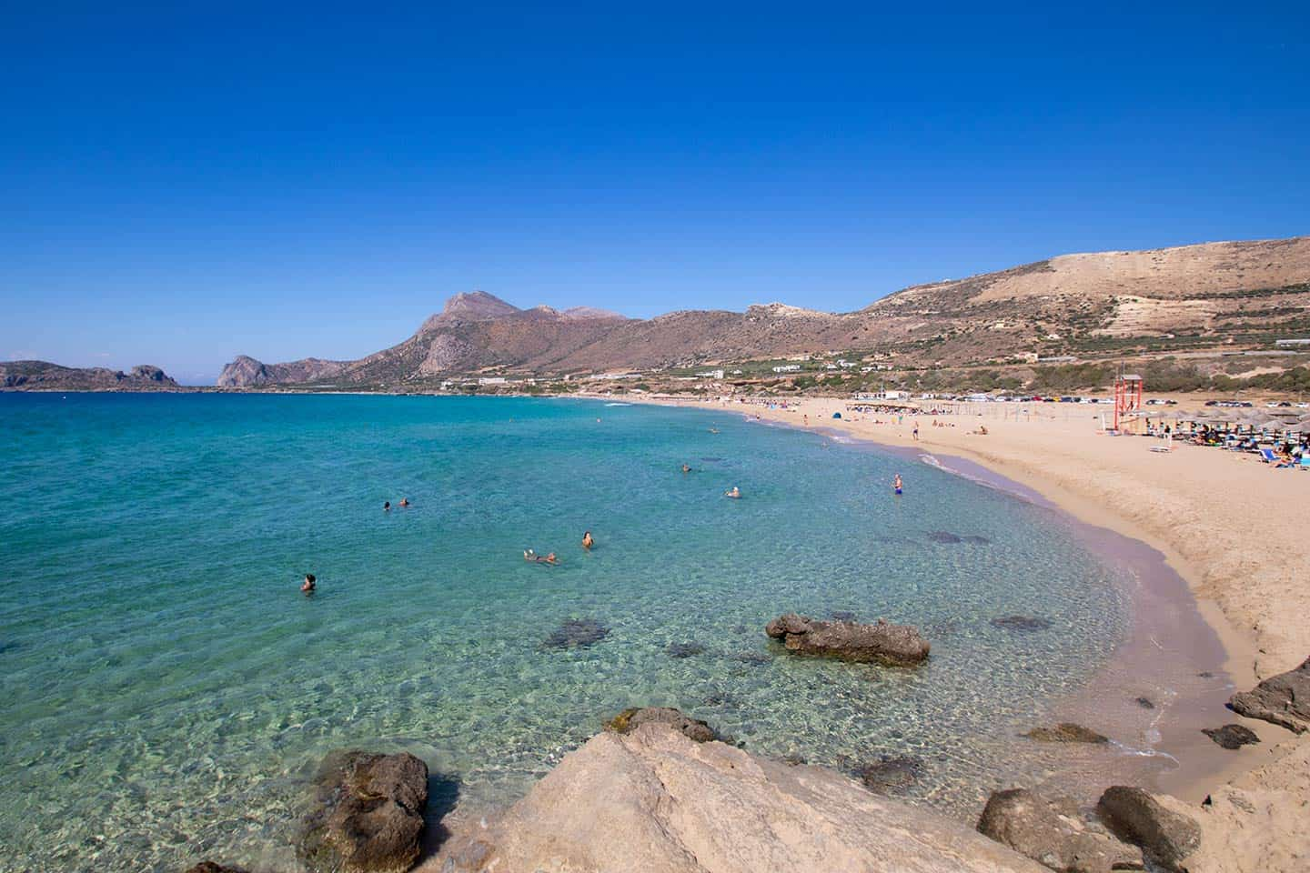 Image of the main beach at Falassarn Crete Greece