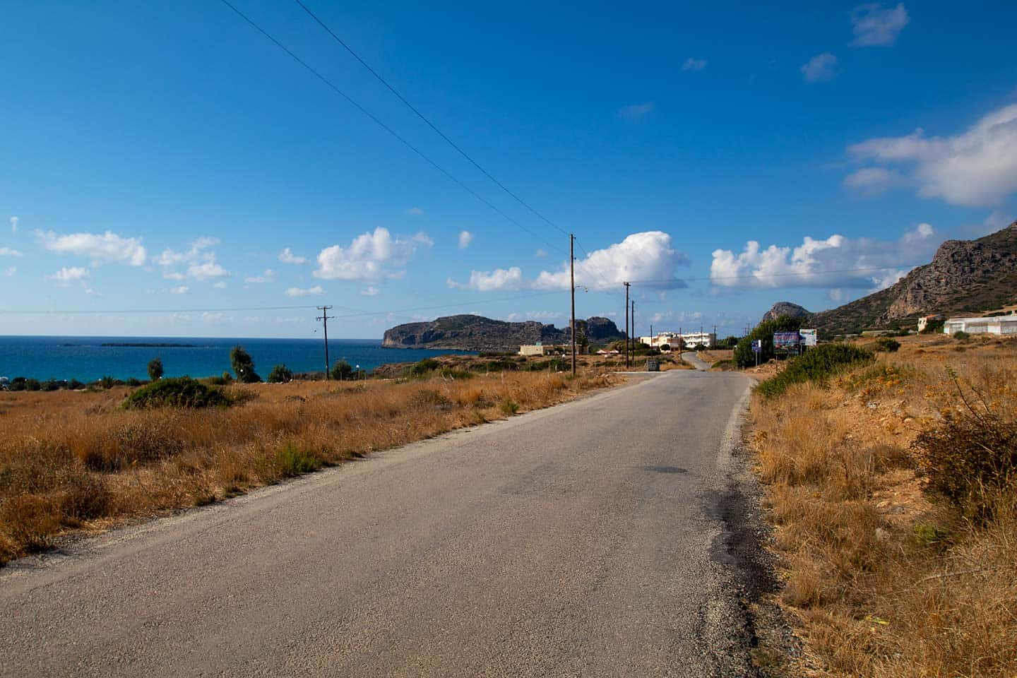 Image of the road in Falassarna Crete Greece
