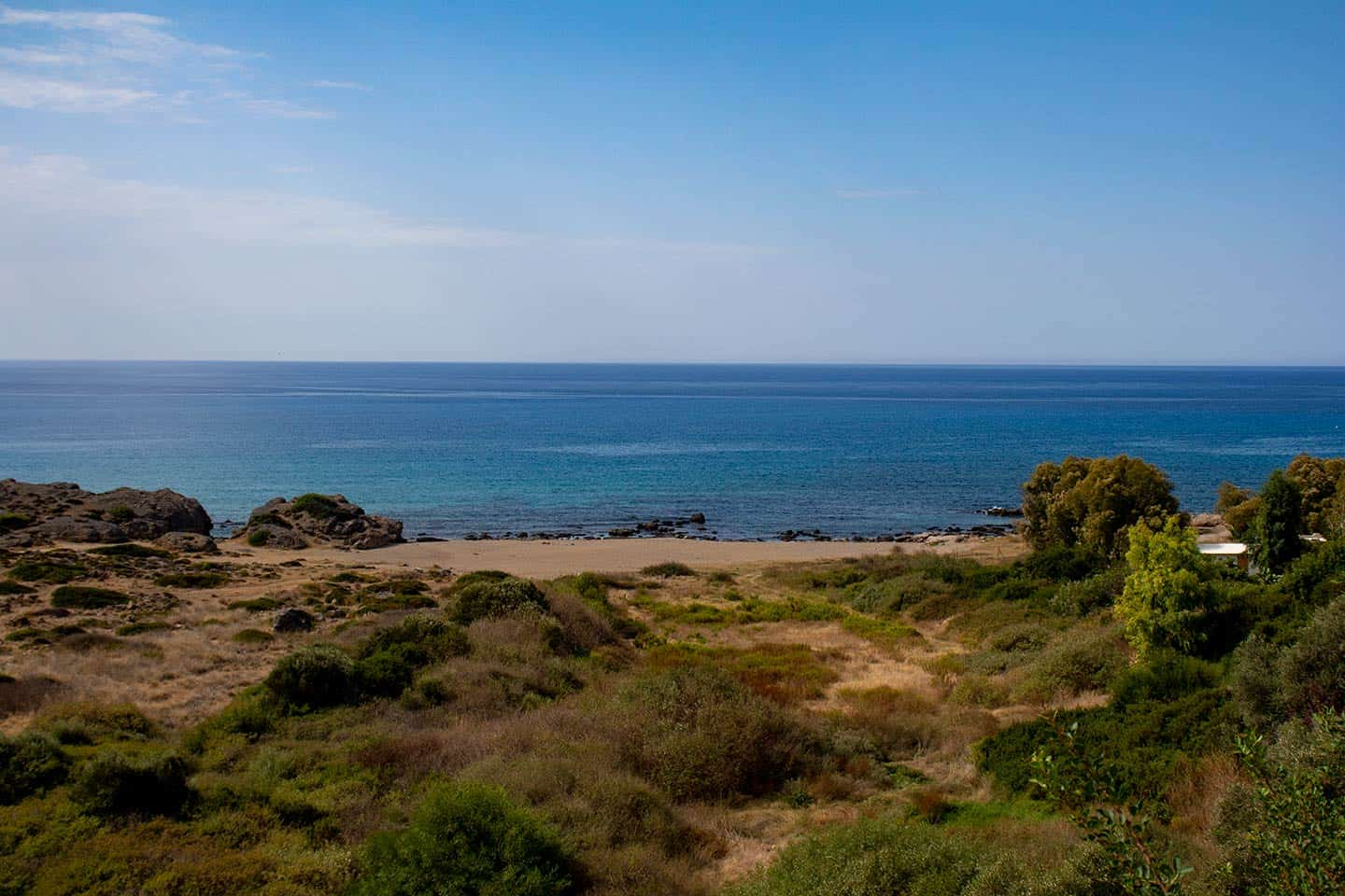 Image of the small beach at Falassarna Crete Greece