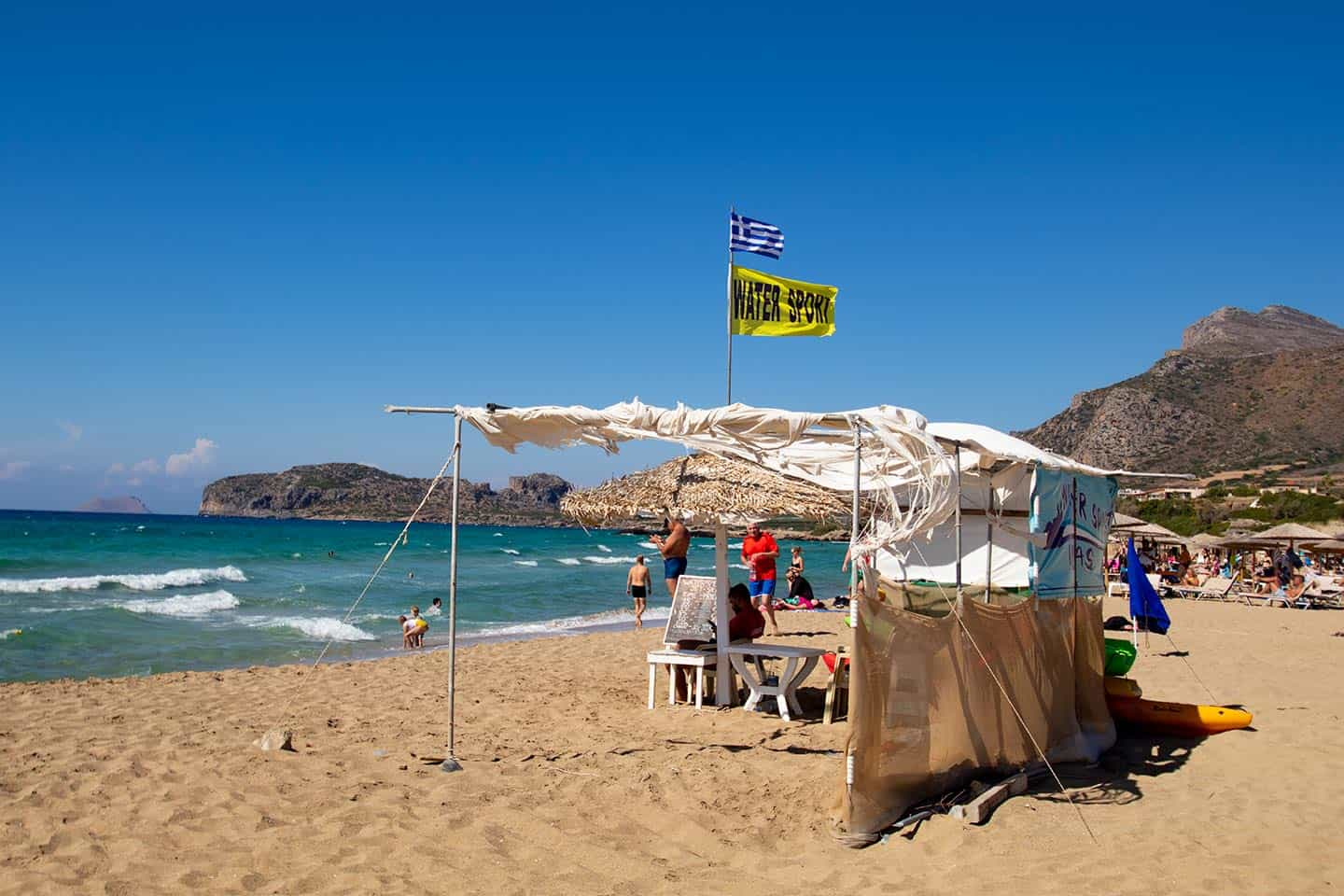 Image of a stall hiring out watersports equipment on Falassarna beach