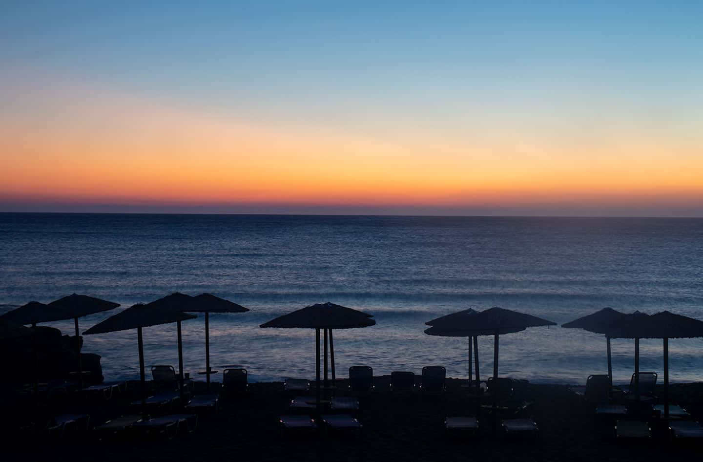 Image of a sunset at Falassarna beach Crete Greece