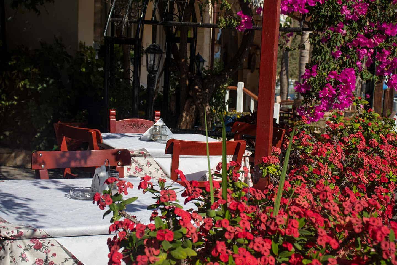 Image of restaurant tables in Georgioupolis village Crete