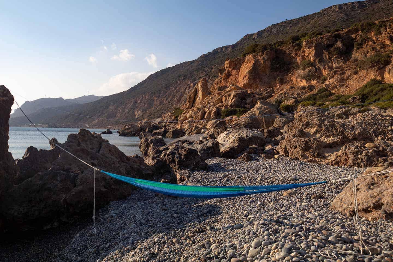 Image of a hammock at Gialiskari beach near Paleochora