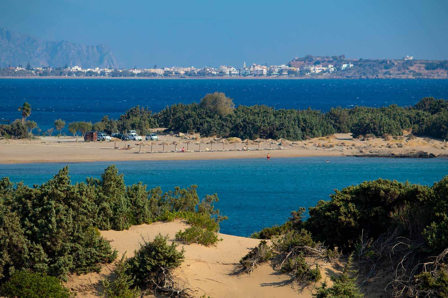 Image of Wild beach, Grammeno beach and Paleochora town in the distance