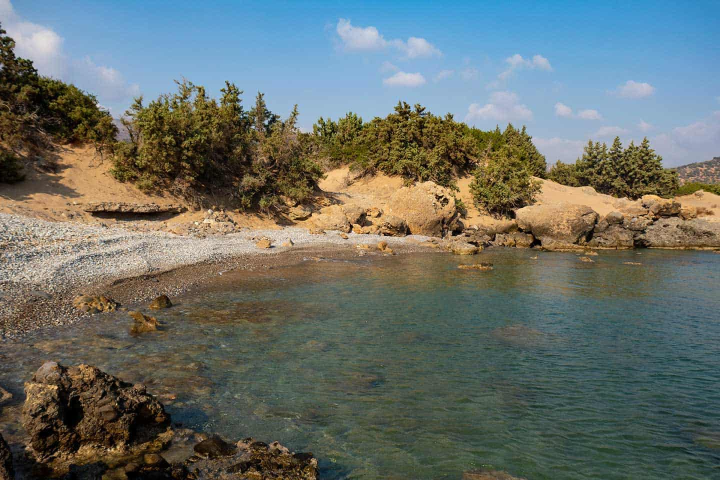 Image of one of the coves at Wild Beach in Grammeno Crete