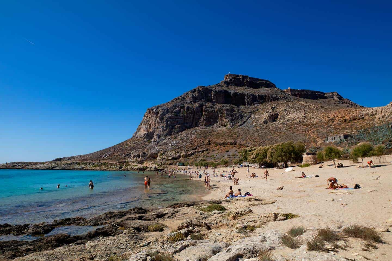 Image of Gramvousa beach and castle Crete Greece