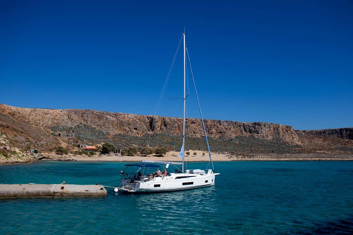 Image of a yacht moored off Gramvousa Beach Crete Greece