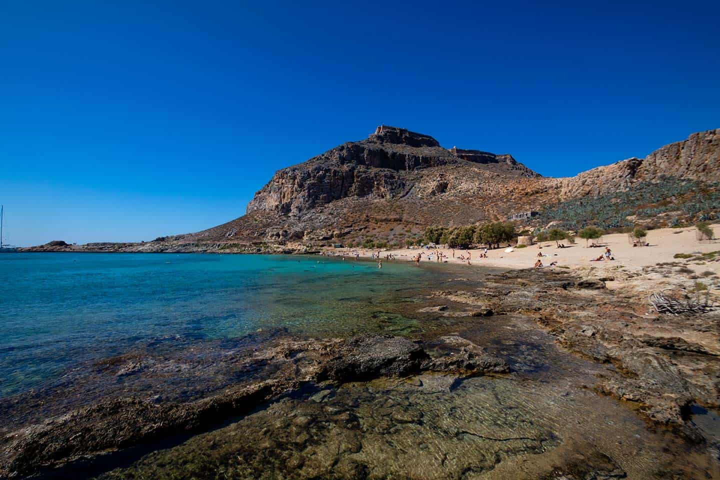 Image of Gramvousa Castle and beach Crete Greece