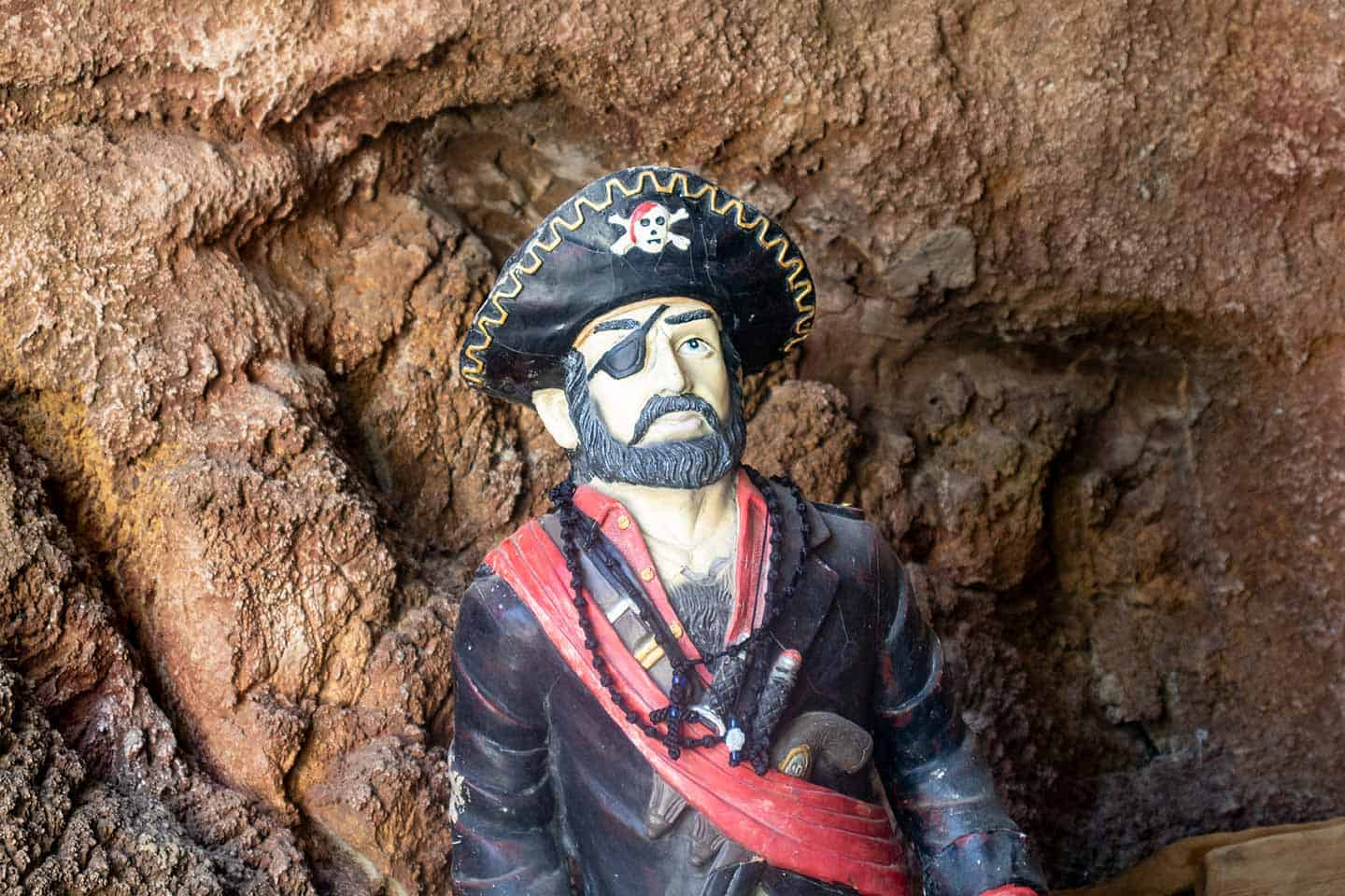 Image of the pirate sculpture in the cave at Kalypso Beach Crete