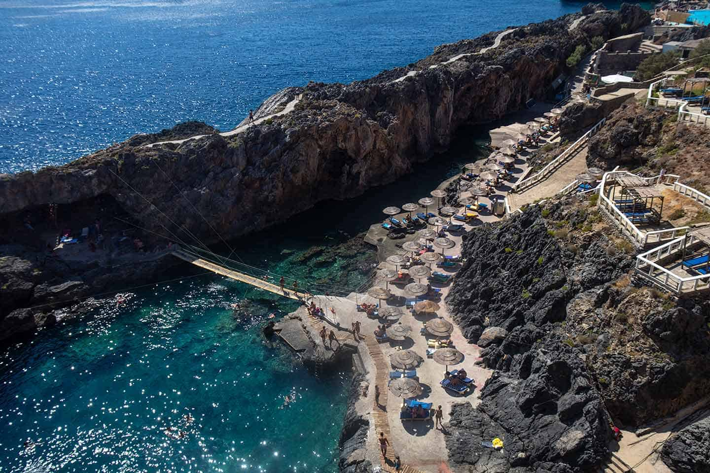Image of the view of Kalypso Beach from the cliff path above