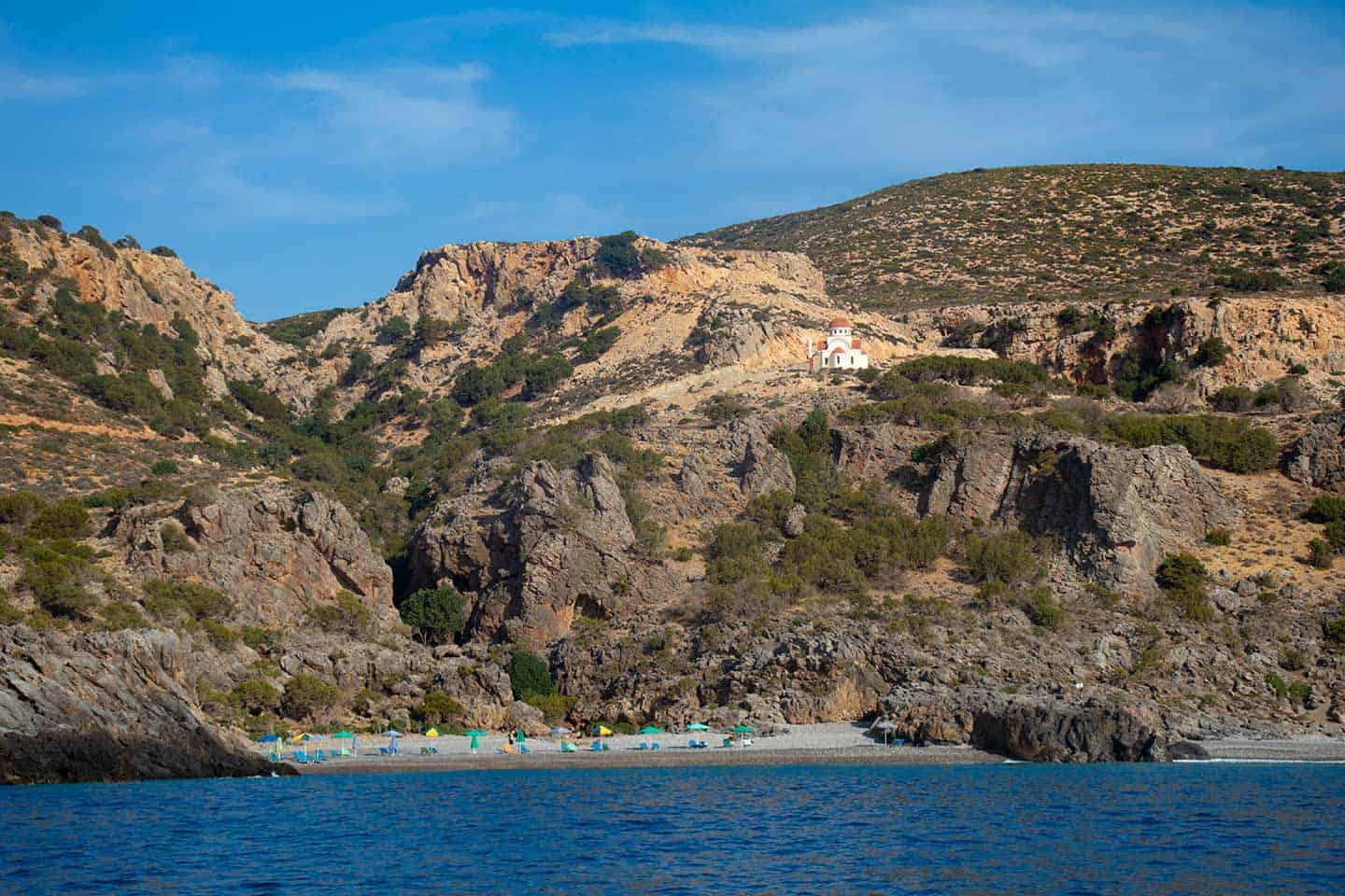 Image of Krios beach Paleochora Crete with the church above