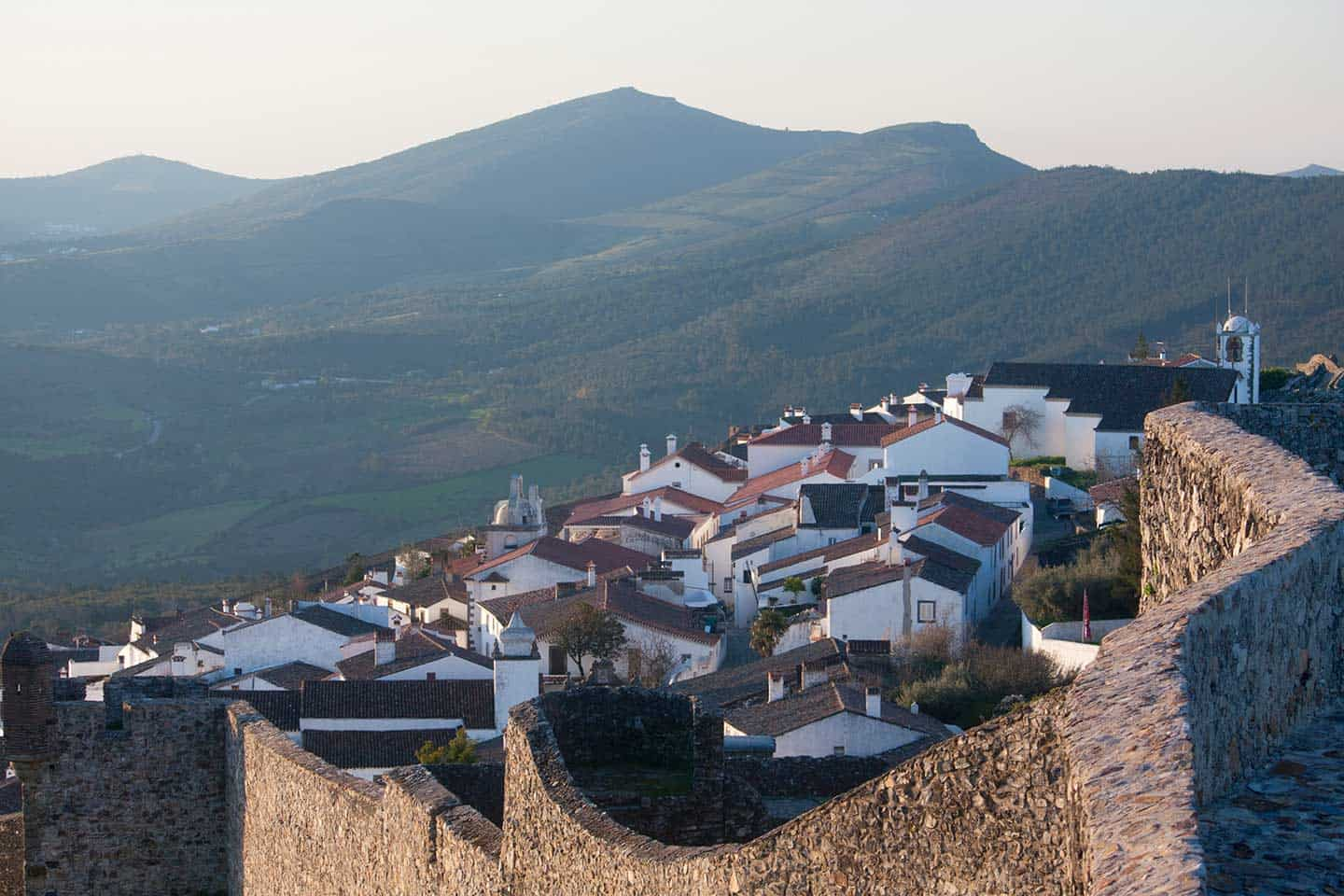 Image of the village and ramparts from the castle in Marvao Portugal