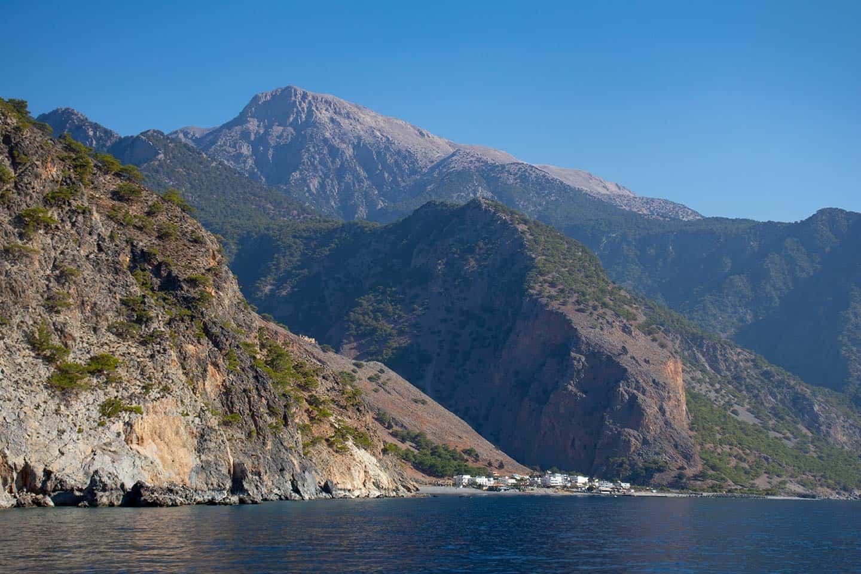 Image of Agia Roumeli village and the White Mountains Crete Greece
