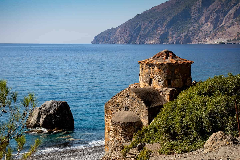 Beaches near Chania Image of Agios Pavlos beach and church Crete