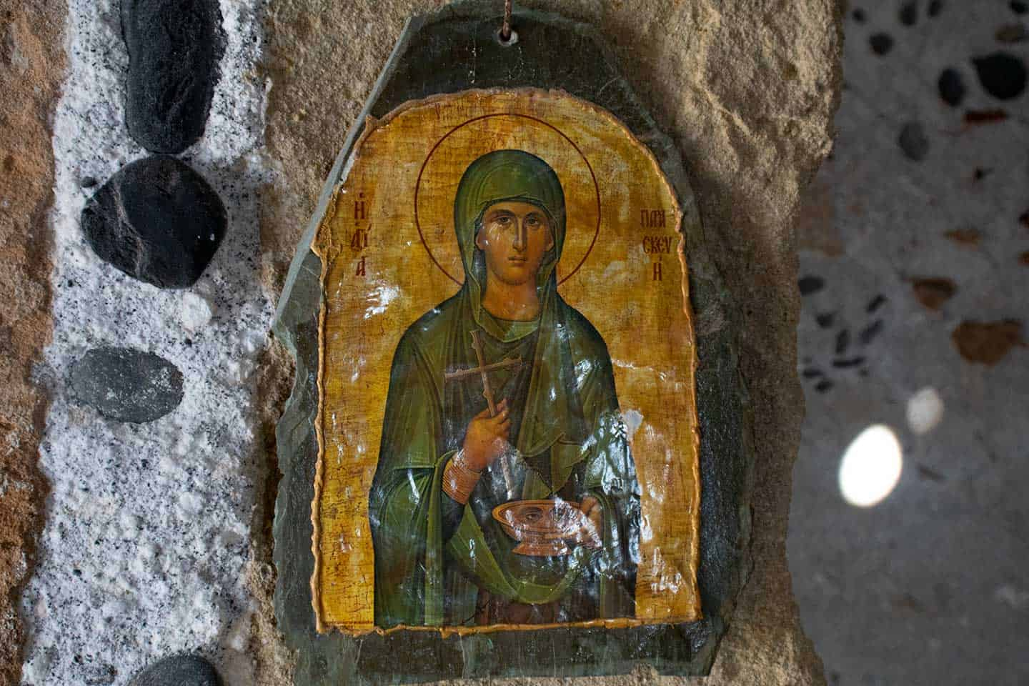 Image of an icon in the Byzantine church of Agios Pavlos Crete