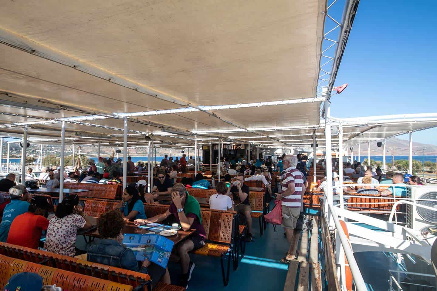 Image of passengers on board the ferry to Balos beach in Crete