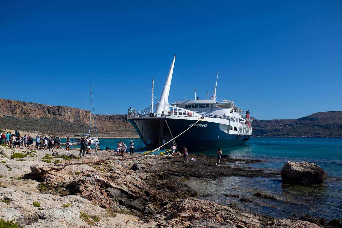 Balos Greece Image of the ferry to Balos moored at Gramvousa Island