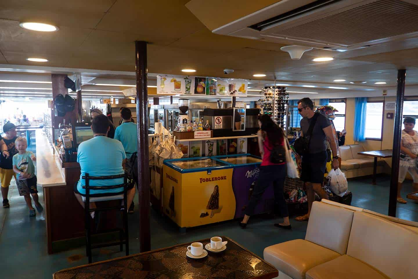 Image of the cafeteria on board the ferry to Balos beach Crete