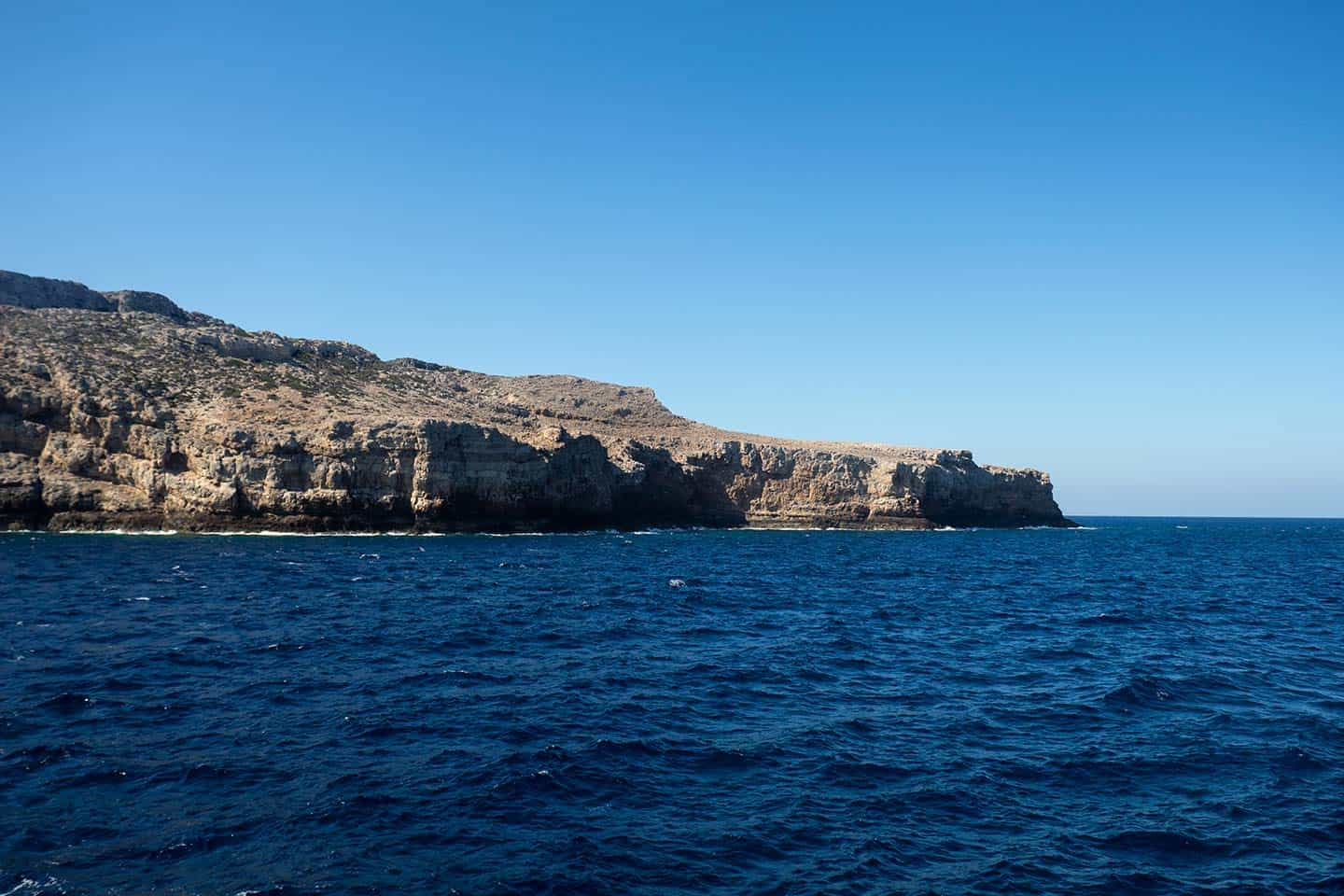 Image of the Crete coast seen from the Kissamos to Balos Beach ferry
