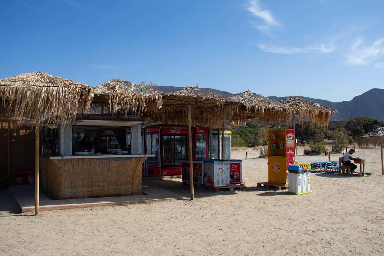 Crete Elafonisi Image of snack bar at Elafonissi beach