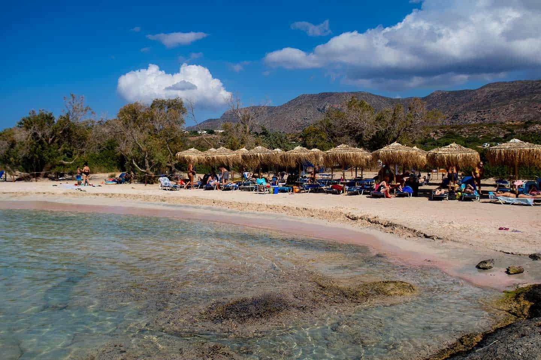 Elafonissi Beach Crete Greece Image of beach umbrellas at Elafonissi Beach
