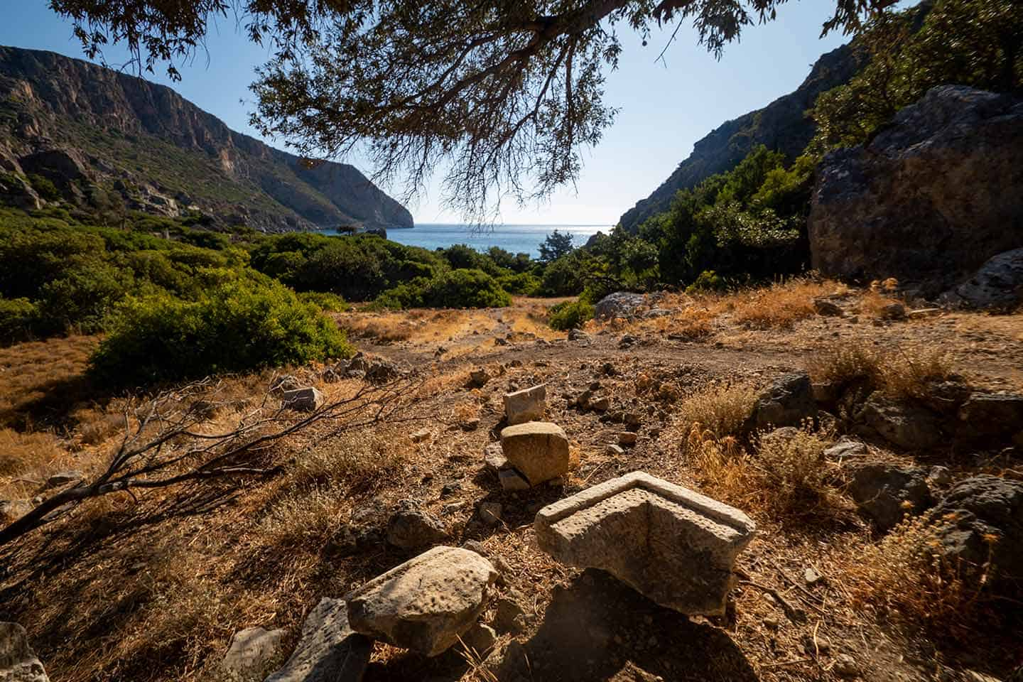 Image of pieces of stonework stonework from the ancient Greek city of Lissos Crete