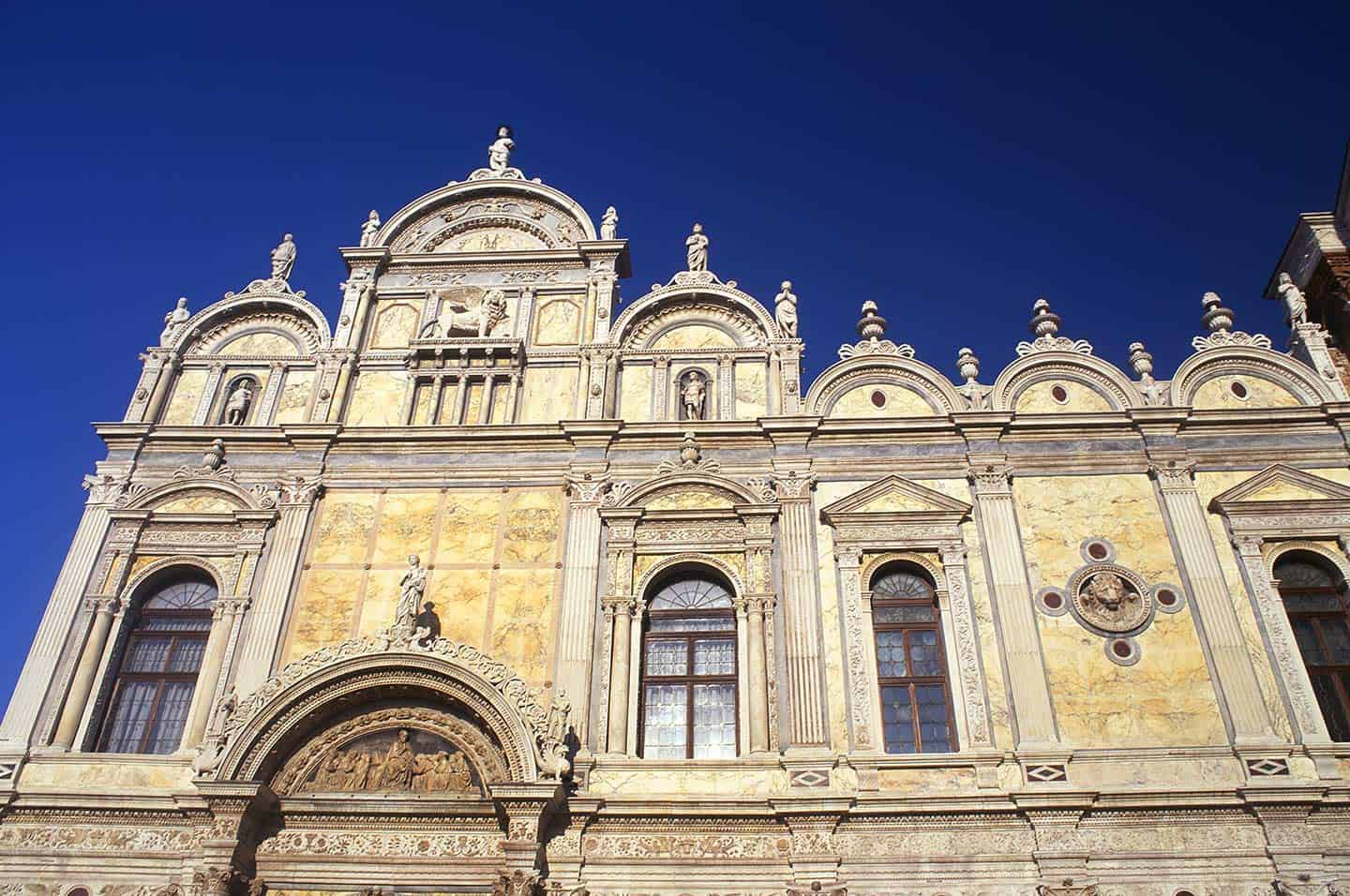 Image of the facade of Venice's hospital, formerly the Scuola Grande di San Marco
