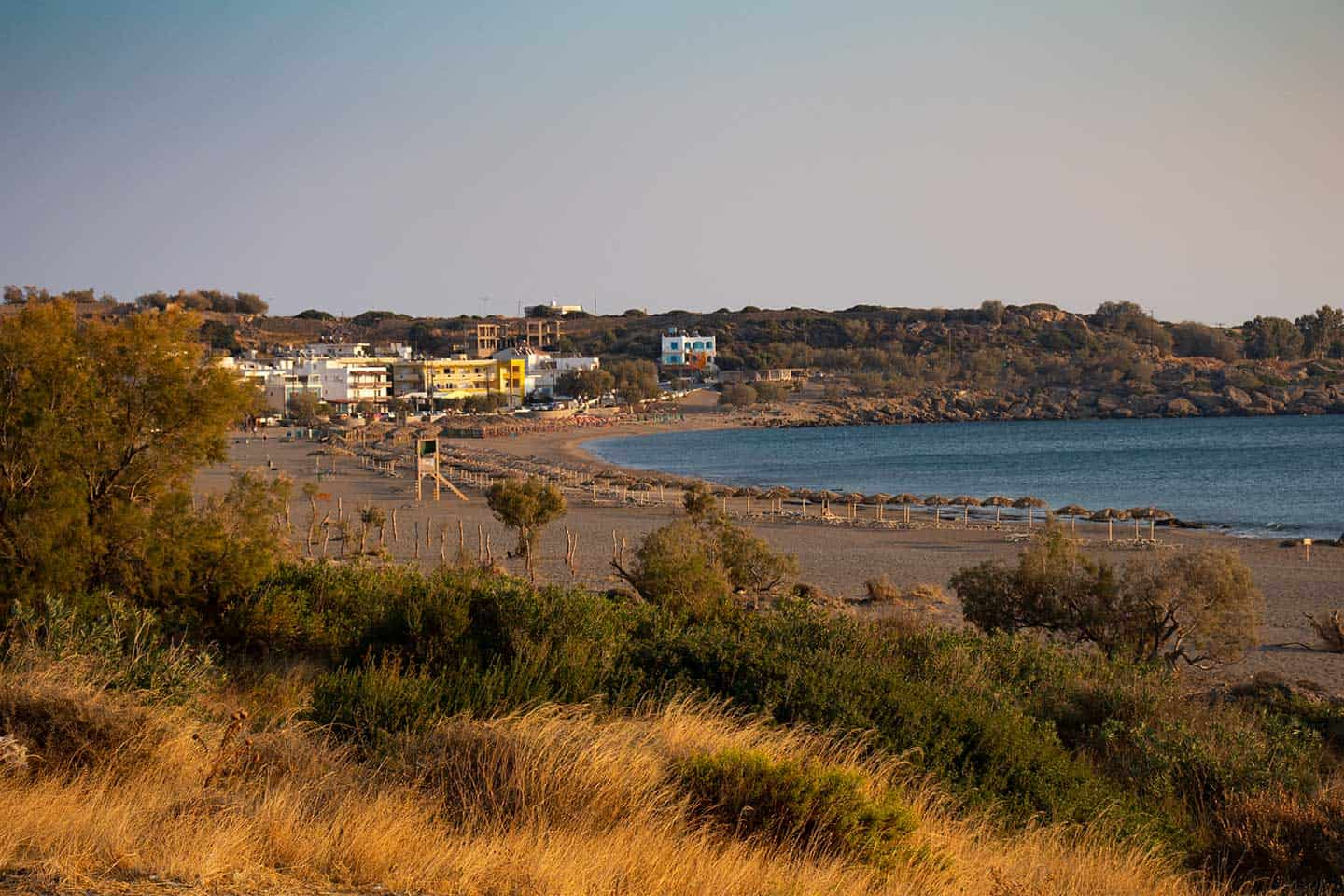 Weather in Crete Image of Pachia Ammos beach Paleochora on a warm October evening