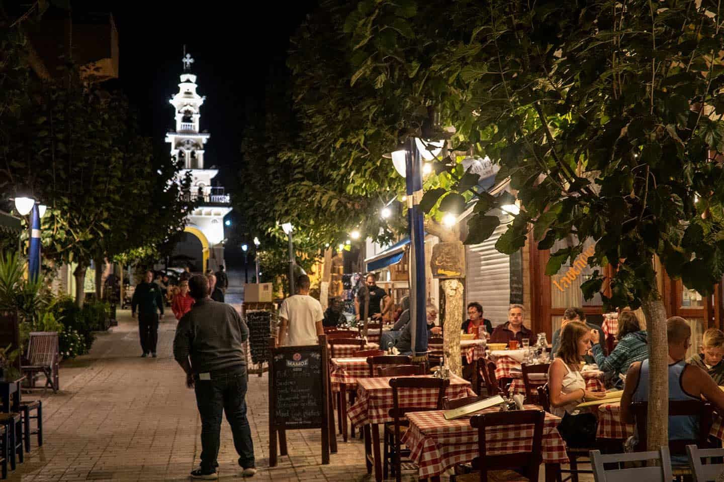 Image of outdoor cafes in the square in Paleochora Crete