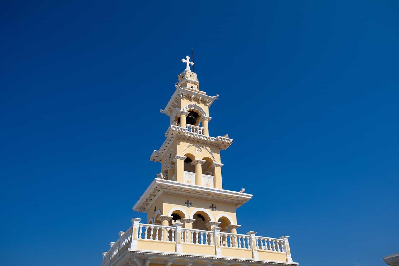 Image of the church tower in Paleochora Crete