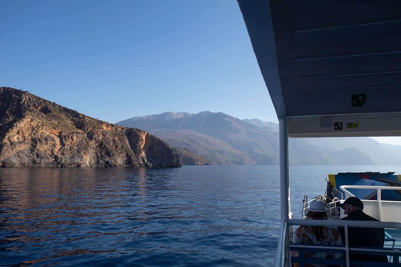 Image of the Paleochora ferry cruising along the Crete south coast