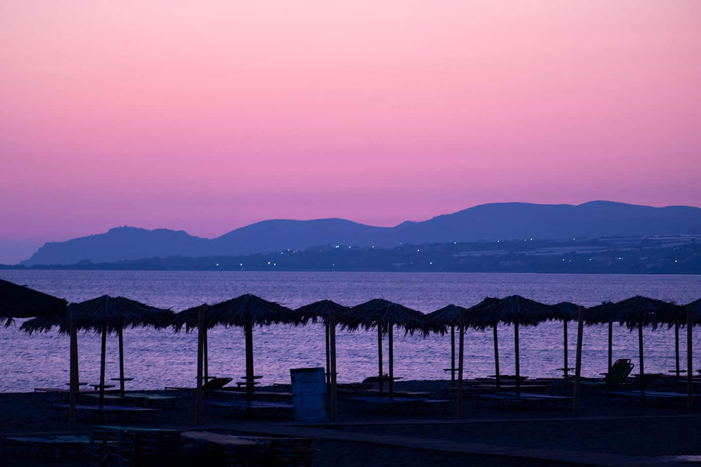 Image of a sunset on a beach in Paleochora Crete