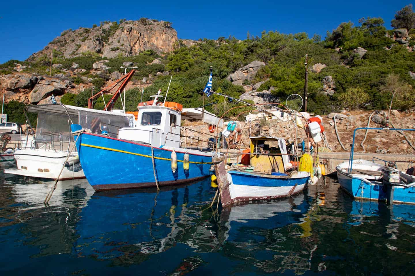 Image of boats in the tiny harbour at Sougia Crete